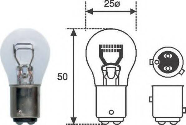 Лампа накаливания, фонарь сигнала торможения; Лампа накаливания, задняя противотуманная фара; Лампа накаливания MAGNETI MARELLI 008529100000